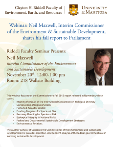Webinar: Neil Maxwell, Interim Commissioner of the Environment & Sustainable Development,