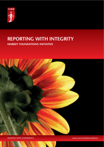 REPORTING WITH INTEGRITY MARKET FOUNDATIONS INITIATIVE BUSINESS WITH CONFIDENCE icaew.com/marketfoundations