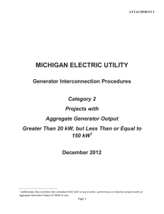 MICHIGAN ELECTRIC UTILITY Generator Interconnection Procedures December 2012 Category 2