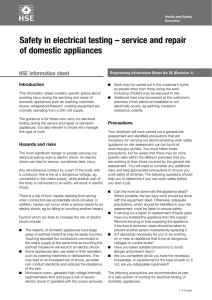 Safety in electrical testing – service and repair of domestic appliances Introduction
