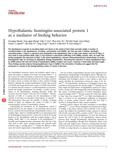 Hypothalamic huntingtin-associated protein 1 as a mediator of feeding behavior
