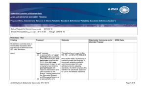 Stakeholder Comment and Rationale Form  AESO AUTHORITATIVE DOCUMENT PROCESS Stakeholder Consultation Draft