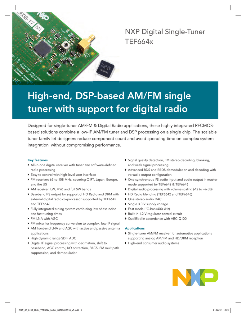High-end, DSP-based AM/FM single tuner with support for