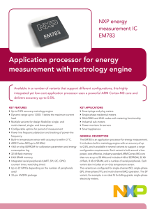 Application processor for energy measurement with metrology engine NXP energy measurement IC