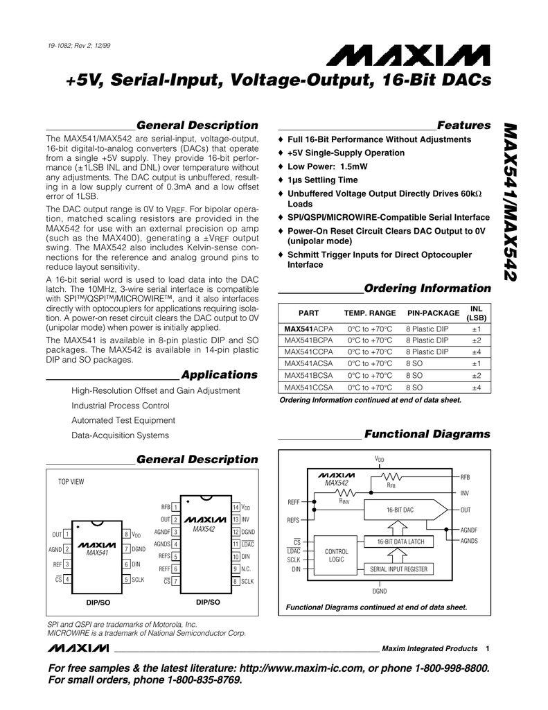 Max541 Max542 5v Serial Input Voltage Output 16 Bit Dacs General R 2r Ladder Circuit Diagram Description Features