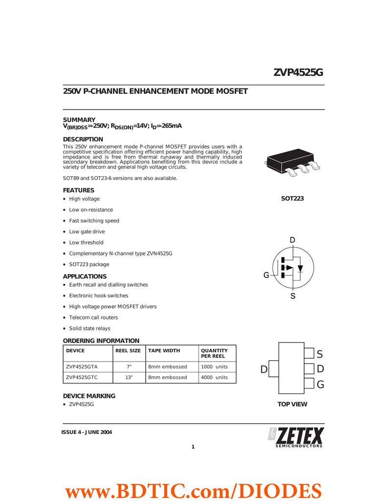 ZVP4525G 250V P-CHANNEL ENHANCEMENT MODE MOSFET