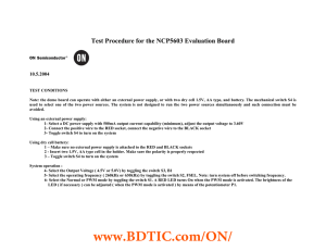 Test Procedure for the NCP5603 Evaluation Board  10.5.2004