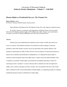 *Human Rights as Presidential Success: The Truman Era by Hope Schuhart