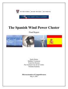 The Spanish Wind Power Cluster Final Report Emily Bolon Matthew Commons