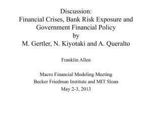Discussion: Financial Crises, Bank Risk Exposure and Government Financial Policy by