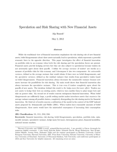 Speculation and Risk Sharing with New Financial Assets Alp Simsek