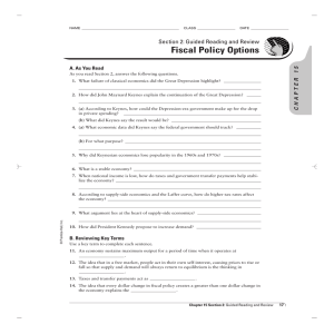 Fiscal Policy Options Section 2: Guided Reading and Review CHAPTER 15