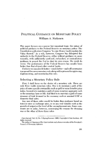 William A. Niskanen POLITICAL GUIDANCE ON MONETARY POLICY