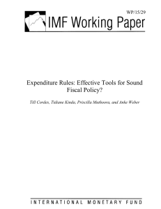 Expenditure Rules: Effective Tools for Sound Fiscal Policy? 29 WP/15/