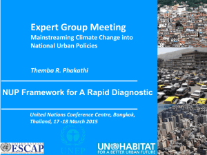 Expert Group Meeting NUP Framework for A Rapid Diagnostic National Urban Policies