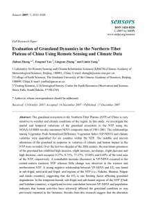 Evaluation of Grassland Dynamics in the Northern-Tibet Plateau of China Using Remote Sensing and Climate Data