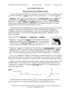 Lecture Notes 18: Relativistic Electrodynamics