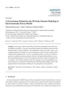 A Perturbation Method for the 3D Finite Element Modeling of Electrostatically Driven MEMS