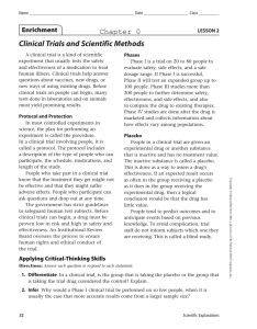 Clinical Trials and Scientific Methods Chapter 0 Enrichment