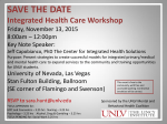 SAVE THE DATE Integrated Health Care Workshop
