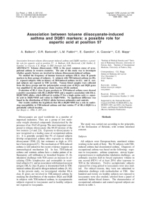 Association between toluene diisocyanate-induced aspartic acid at position 57