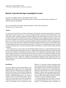 Kinetics of growth and sugar consumption in yeasts 63: 343-352, 1993.