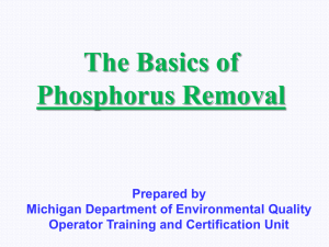 The Basics of Phosphorus Removal Prepared by Michigan Department of Environmental Quality