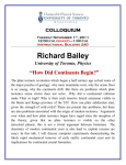 "Richard Bailey ""How Did Continents Begin?""  COLLOQUIUM"