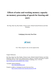 Effects of noise and working memory capacity users Linköping University Post Print