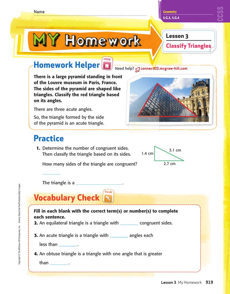 homework helper lesson 3 classify triangles