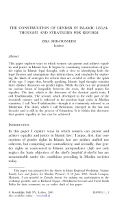 THE CONSTRUCTION OF GENDER IN  ISLAMIC LEGAL Abstract ZIBA MIR-HOSSEINI