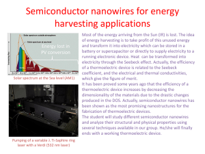 Semiconductor nanowires for energy harvesting applications