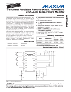 MAX6698 7-Channel Precision Remote-Diode, Thermistor, and Local Temperature Monitor General Description