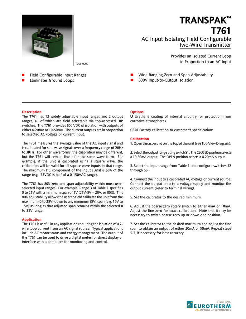 Transpak T761 Ac Input Isolating Field Configurable Dip Rotary Switch Wiring Diagram