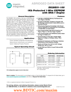 ABRIDGED DATA SHEET DS28E01-100 1Kb Protected 1-Wire EEPROM with SHA-1 Engine