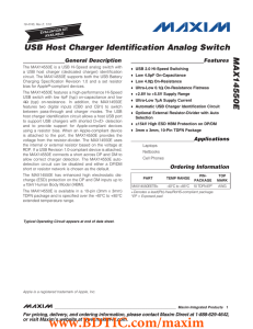 USB Host Charger Identification Analog Switch MAX14550E General Description Features