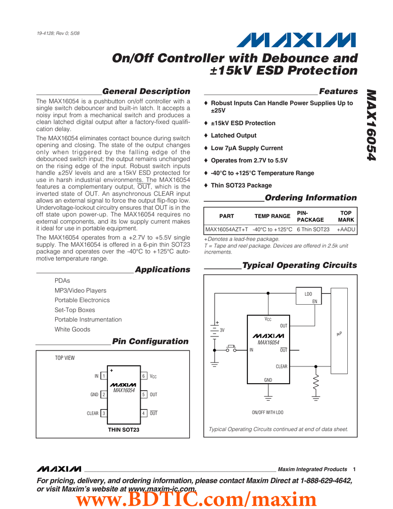 Max16054 On Off Controller With Debounce And 15kv Esd Protection Push Button Circuit General Description