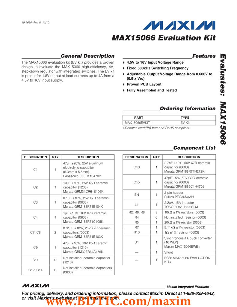 MAX15066 Evaluation Kit Evaluates: General Description Features
