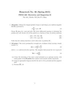 Homework No. 06 (Spring 2015) PHYS 420: Electricity and Magnetism II