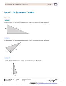 Lesson 1:  The Pythagorean Theorem 8•7  Lesson 1