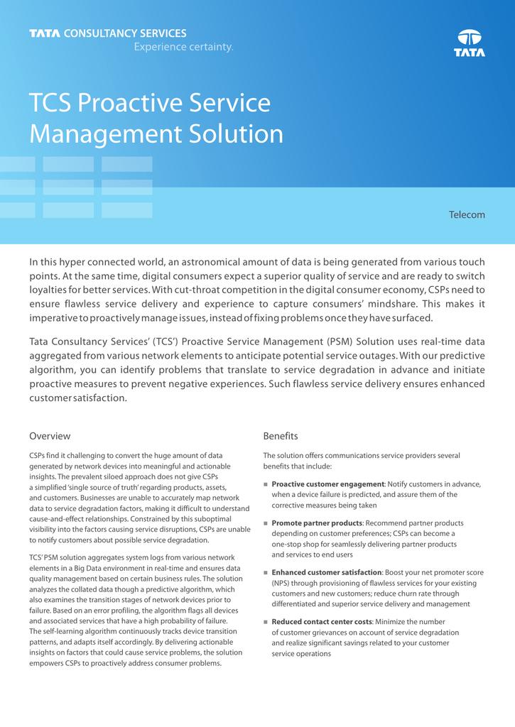 TCS Proactive Service Management Solution
