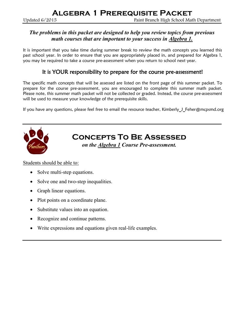 Algebra 1 Prerequisite Packet