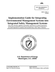 Implementation Guide for Integrating Environmental Management Systems into Integrated Safety Management Systems