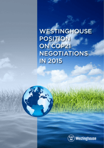 WESTINGHOUSE POSITION ON COP21 NEGOTIATIONS