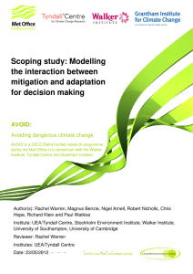 Scoping study: Modelling the interaction between mitigation and adaptation