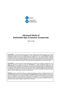 Advanced Study of Switchable Spin Crossover Compounds Gavin Craig