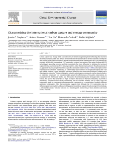 Characterizing the international carbon capture and storage community Jennie C. Stephens ,