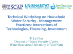 Technical Workshop on Household Water Security - Management Practices: Interactions of