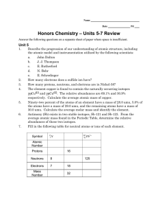 – Units 5-7 Review Honors Chemistry Unit 5