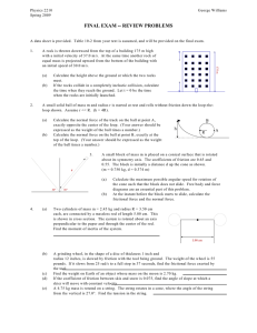 FINAL EXAM -- REVIEW PROBLEMS